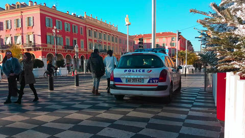 French Police Car in Nice France Footage