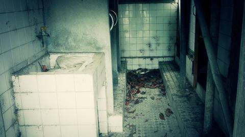 Bathroom of abandoned building block Footage