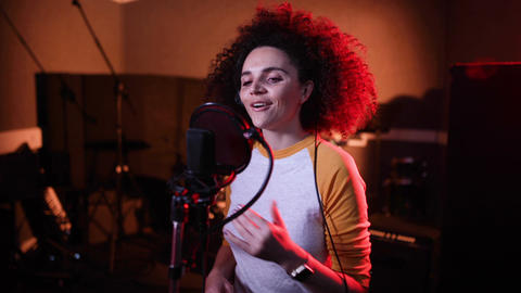 Singer in a music recording studio Live Action