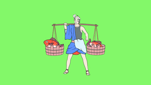 Fish seller 1 CG動画素材