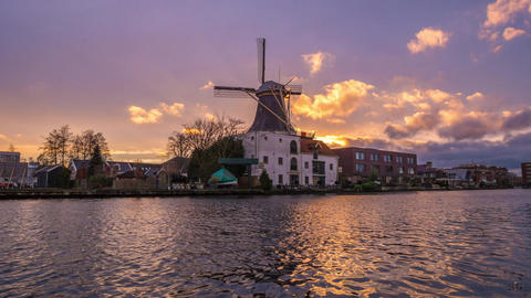 Hyper lapse Dutch Windmill at river, Netherlands Footage