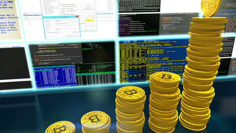 3D animation of mining bitcoins with moving camera Animation