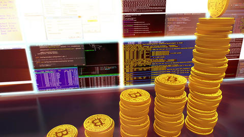 3D cg of mining bitcoins with moving camera, red Animation