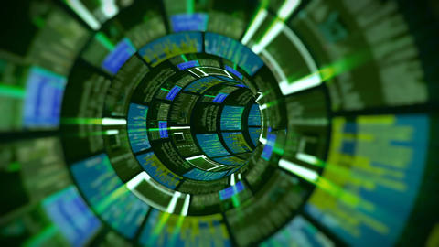 3D flight in green optic tunnel data processing Animation