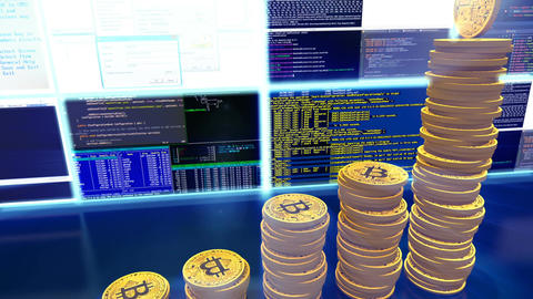 3D cg of mining bitcoins with moving camera, blue Animation
