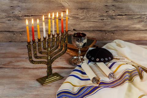 Jewish holiday hannukah symbols - menorah Foto