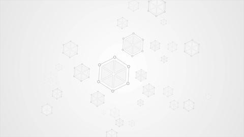 Grey abstract hexagon molecules tech video animation Animation