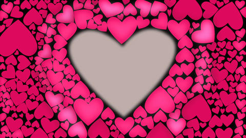 Red heart glow with waves from cnter to outer. Heart shape animation. Pink color Footage