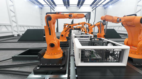 Robotic Arms Assembling Computers On Conveyor Belt. Modern Advanced Automated Animation