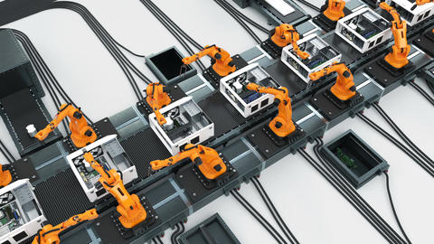 Conveyor Belt and Many Robotic Arms Assembling Computer Cases. Advanced Animation