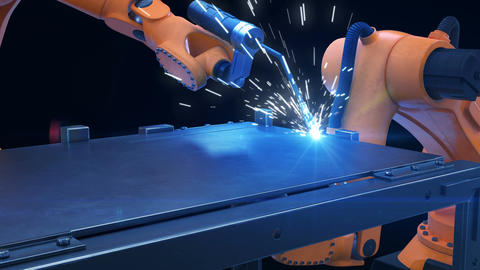 Robots Cutting Metal Process at Workshop. High Precision Modern Tools in Heavy Animation