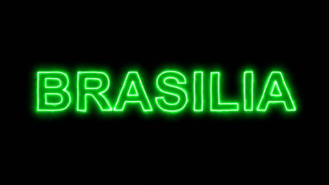 Neon flickering green capital name BRASILIA in the haze. Alpha channel Animation