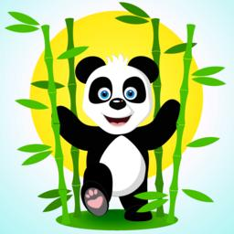 Cute panda among the bamboo branches.Vector illustration Vector