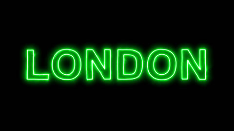 Neon flickering green capital name LONDON in the haze. Alpha channel Animation