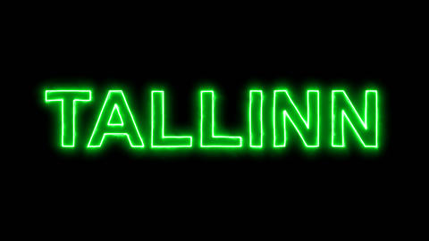 Neon flickering green capital name TALLINN in the haze. Alpha channel Animation