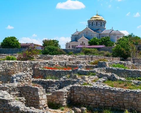 building Vladimir Cathedral Chersonese Tavricheskiy, Crimea Ukra フォト