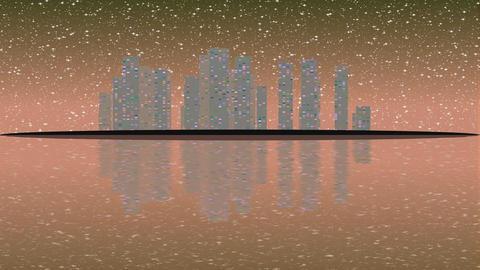 urban city lights night. Full moon raising over cityscape Footage