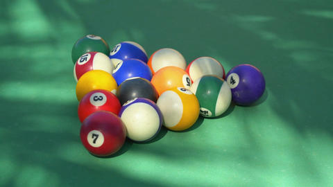 Video of hitting billiards balls on the table in 4k Footage