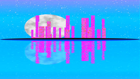 Modern City Lit by Colorful Light Effects. Animation Concept for colorful Footage
