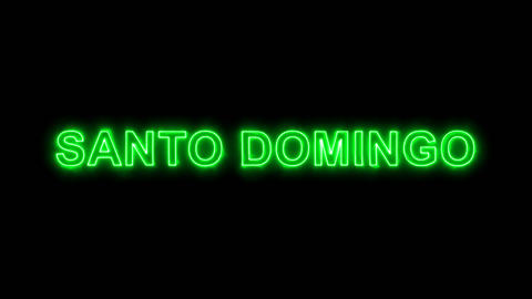 Neon flickering green capital name SANTO DOMINGO in the haze. Alpha channel Animation