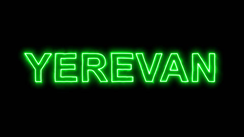 Neon flickering green capital name YEREVAN in the haze. Alpha channel Animation