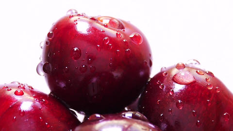 Drops of Water on Fresh Cherry Berries Footage