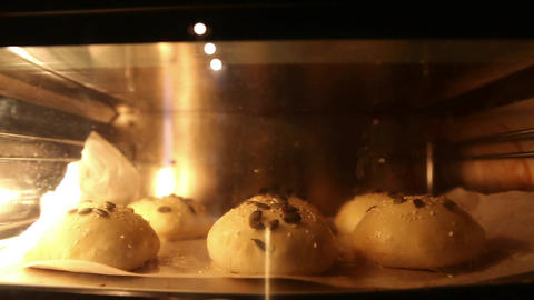 The buns are cooked in the oven. Timelapse Archivo