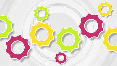 Colorful tech gears communication video animation Animation