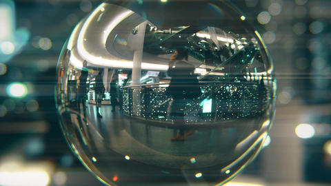 Customers walk in Christmas decorated shopping mall. View through the glass ball Footage