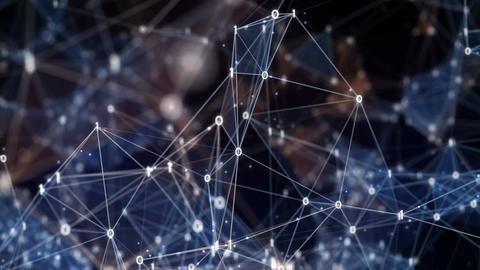Flying through Digital Binary Polygon Plexus Data Networks Animation