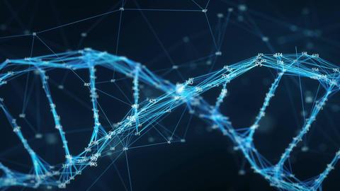 Motion Background Digital Plexus DNA molecule random digits Loop Animation