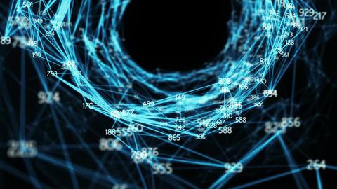 Abstract Motion Background - Random Digits Digital Plexus Tunnel Funnel Loop Animation