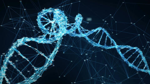 Motion Background Digital Plexus DNA molecule random digits Loop Animation