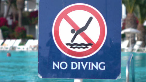 Video of no diving sign in real slow motion Image