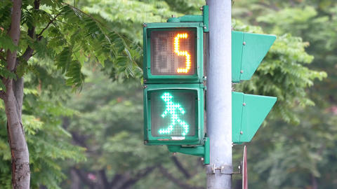 City traffic light turns from green to red for pedestrian walking with 4k Footage