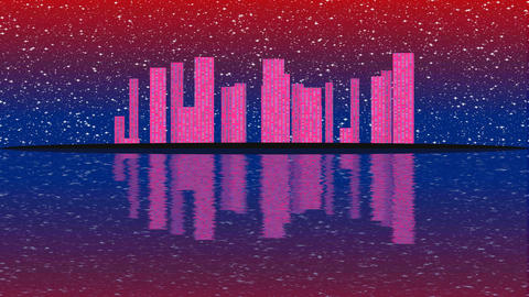 Modern City Lit by Colorful Light Effects. Animation Concept for colorful Image