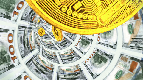 3D Tunnel of dollars and flying back bitcoins Animation