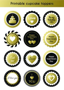 Set of printable gold and black cupcake toppers ベクター
