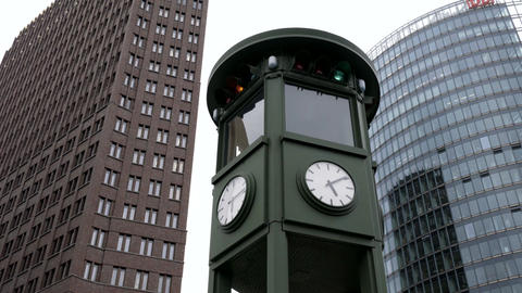 Historic clock on Potsdamer Platz in Berlin Footage
