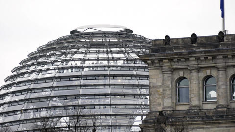 Top glass structure on top of the German parliament in Berlin Live Action