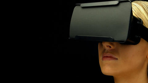 Woman using oculus rift Footage