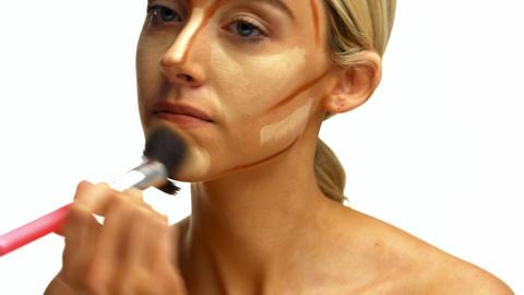 Beautiful Woman Applying Make Up stock footage