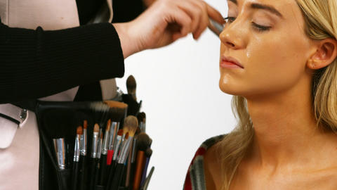 Make up artist applying make up Footage