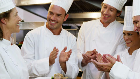 Chefs applauding in the commercial kitchen Footage