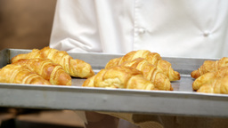 Chef showing tray of croissants Footage
