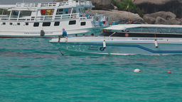 Speedboat approaches the beach Similan Islands Footage