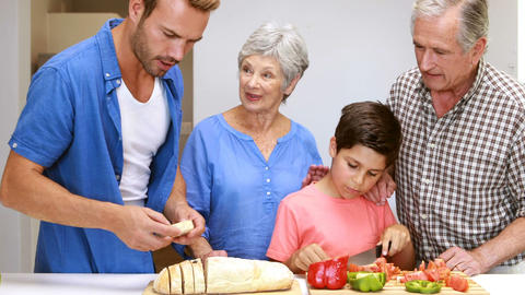 Happy family preparing the meal Live Action