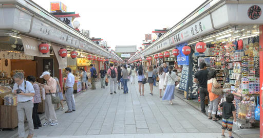 Tourists visit the Nakamise shopping district in Asakusa Footage