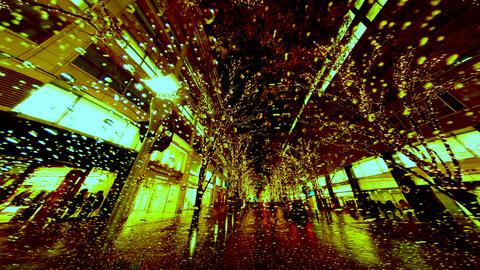Timelapse of bronze city illumination in rain Footage