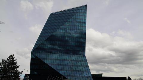 City Business Building Closeup Clouds Timelapse stock footage